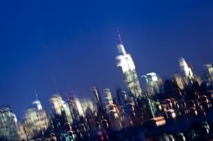 manhattan skyline, city, empire state building, city, lights