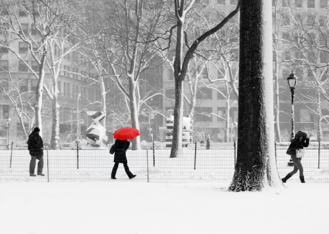 new york winter, nyc, manhattan, snow, people, madison square park, urban