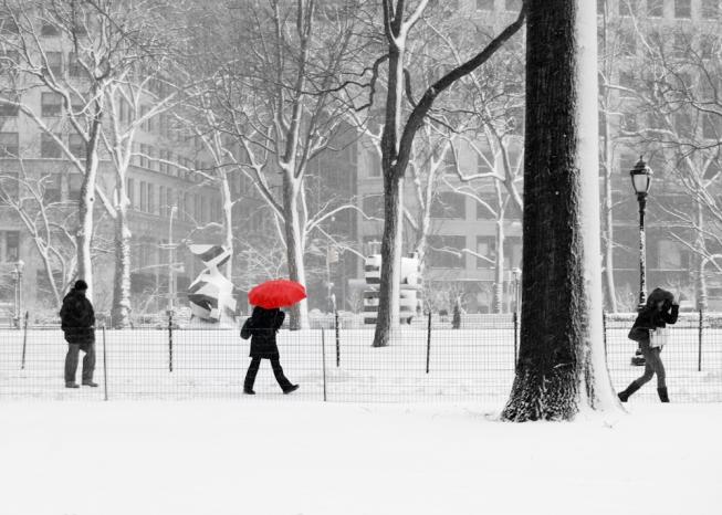 new york winter, nyc, manhattan, snow, people, madison square park, urban