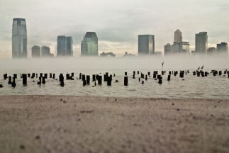 hudson river, fog, manhattan, battery park city, nyc, new jersey, jersey city