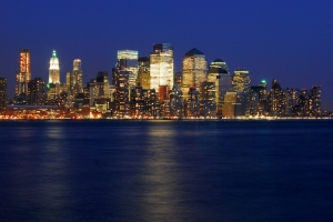 downtown manhattan, nyc, new york city, night photo
