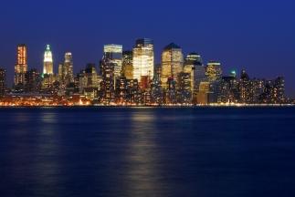 downtown manhattan, nyc, new york city, night photo