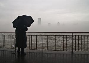 new york city, hudson river, rain, gray, manhattan photo