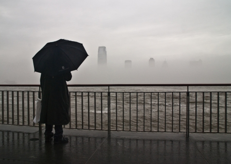 new york city, hudson river, rain, gray, manhattan photo