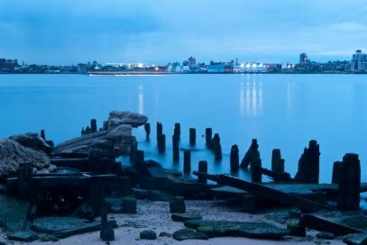 east river, new york city, night photo, blue,