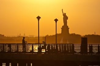 fishing, statue of liberty, sunset, new york, manhattan,