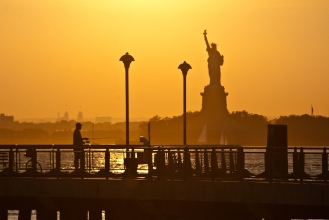 fishing, statue of liberty, sunset, new york, manhattan,