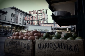 Pike place market sign produce