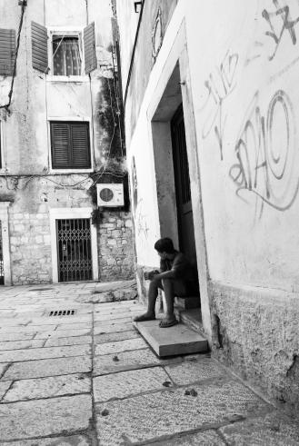 Boy in Diocletian Palace Split Croatia
