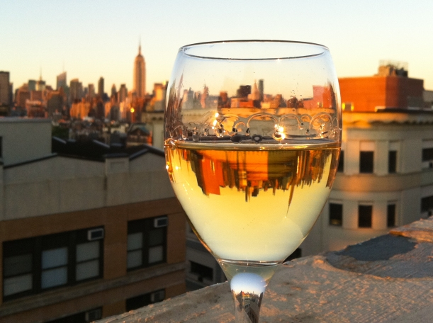 New York City skyline in a wine glass