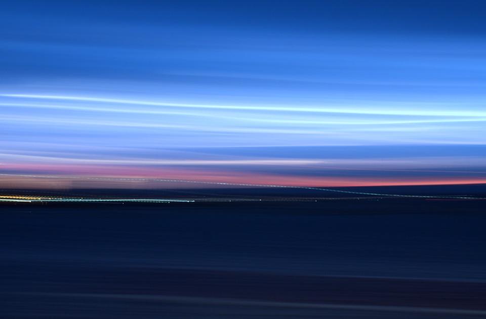 Baja California Impressionist sunset sky blue