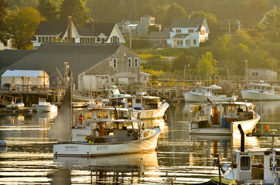 boats in maine sunset