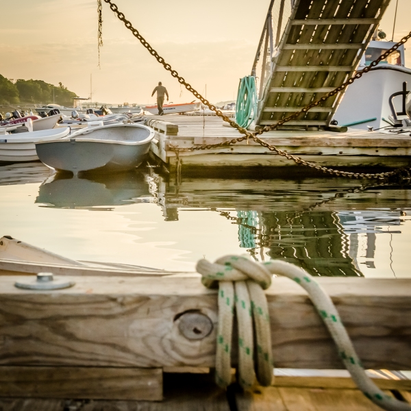 Early morning on a dock in Maine.